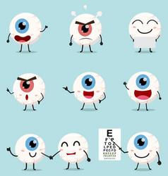 cartoon eye ball collection set vector image