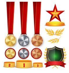 ceremony winner honor prize trophy awards cups vector image