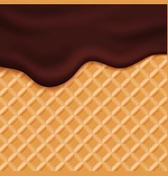 Chocolate ice cream glaze on wafer background vector image