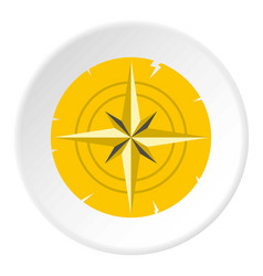 Gold ancient compass icon circle vector