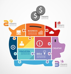 infographic Template with piggy bank jigsaw banner vector image