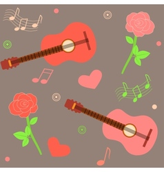seamless musical pattern with guitars and roses vector image