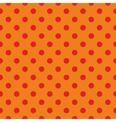 Tile pattern red polka dots on orange background vector image