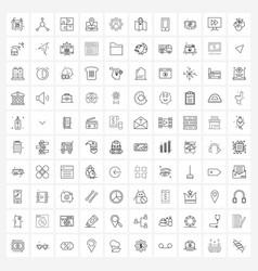 100 interface line icon set modern symbols vector