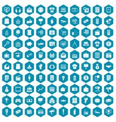 100 marketing icons sapphirine violet vector image