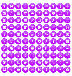 100 sport club icons set purple vector