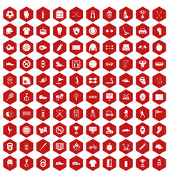100 sport equipment icons hexagon red vector image