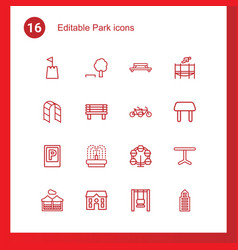 16 park icons vector image