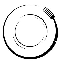 abstract logo of a cafe or restaurant a fork on a vector image