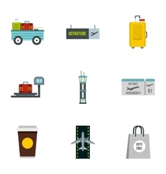 Airport icons set flat style vector