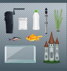 Aquarium realistic set vector