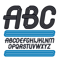 Art funky font made with parallel lines for use vector