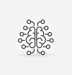 artificial intelligence brain outline icon vector image