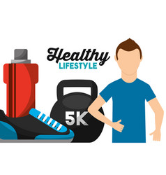 athletic man weight water and sneaker healthy vector image