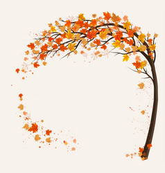 Autumn background with a tree and a colorful vector