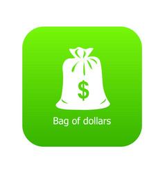 bag dollar icon green vector image