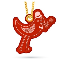 Bird with rose Label tag hanging on golden chain vector image
