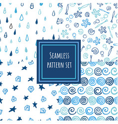 blue shades seamless pattern collection vector image