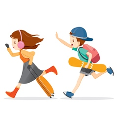 Boy And Girl Running To Travel vector