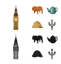 breed dog teapot brewer england country set vector image