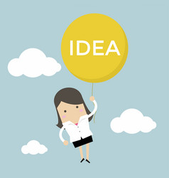 businesswoman hanging idea balloon vector image