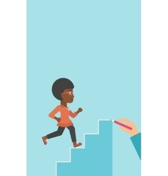Businesswoman running upstairs vector image