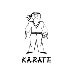 Cartoon karate young man vector