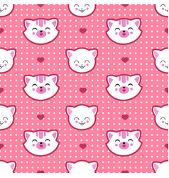 Cat and kitten faces seamless pattern vector