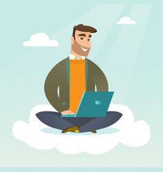 Caucasian using cloud computing technologies vector