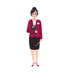 cheerful woman primary school teacher or vector image