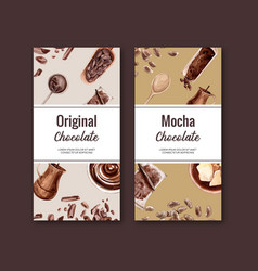 Chocolate packing design with ingredients branch vector