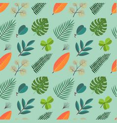 Color seamless pattern with green palm leaves vector
