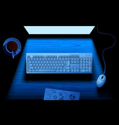 computer keyboard on table illuminated by blue vector image