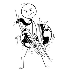 Conceptual cartoon of businessman cutting world vector