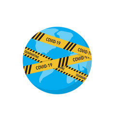 covid19-19 virus lockdown barrier tape over a vector image