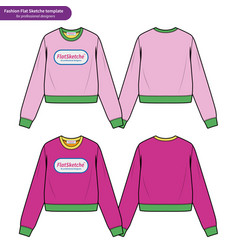 Crop top fashion flat technical drawing template2 vector