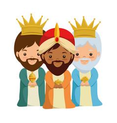 Cute kings wizards christmas avatars vector