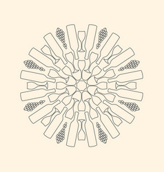 Decorative mandala composed of wine glasses wine vector
