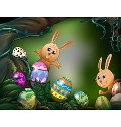 Easter eggs hidden in the jungle vector