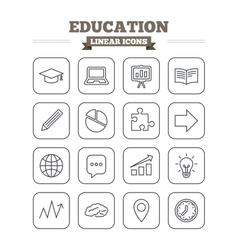 Education linear icons set Thin outline signs vector image