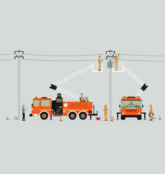electric pole repair vector image