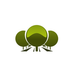 Emblem with green trees vector