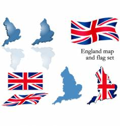England map and flag set vector