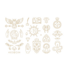 esoteric and mystic linear symbols set vector image