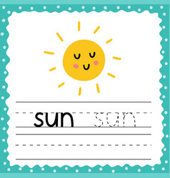 Flashcard with word sun for kids writing practice vector