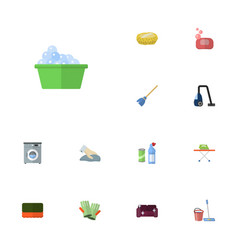 Flat icons wisp besom towel and other vector
