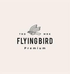 flying bird monoline hipster vintage logo icon vector image