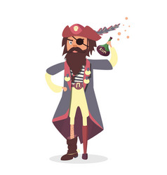 Funny cartoon character pirate with rum bottle vector