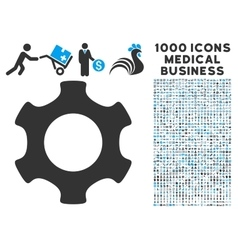 gear icon with 1000 medical business symbols vector image