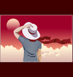 Girl in hat and pink sky vector